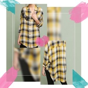 Anthropologie Maeve Embroidered Plaid Tunic Shirt